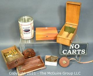 """Eclectic Collection including Wooden Boxes, early Keuffler and Esser Surveyors Tape, Tin, Cabinet Hardware and """"No Carts"""" Sign"""