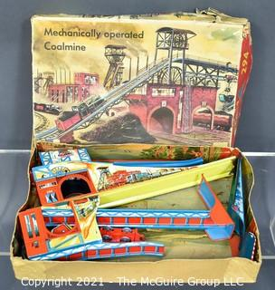 Vintage Metal Tin Marke Technofix 294 Mechanically Operated Coalmine in Box.