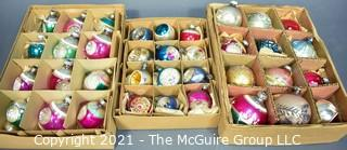 Three (3) Boxes of Vintage Hand Painted Mercury Glass Christmas Ornaments with Indents & Stripes.
