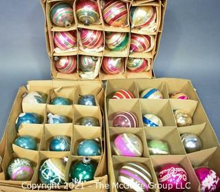 Three (3) Boxes of Vintage Hand Painted Mercury Glass Christmas Ornaments with Stripes.
