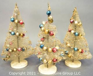 Three (3) Vintage Bottle Brush Trees with Mercury Glass Christmas Ball Ornaments.