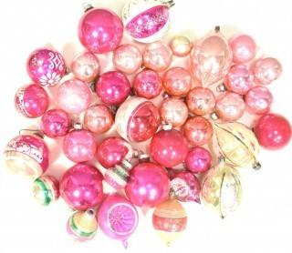 Group of Vintage Hand Painted Pink and Mercury Glass Christmas Ornaments.