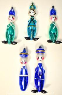 Group of Five (5) Vintage Blown Glass Figural Ornaments