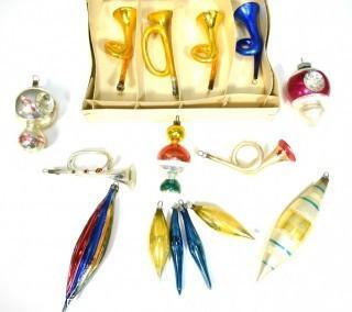 Vintage Hand Blown Glass Figural Christmas Ornaments - Trumpet.