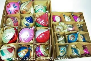 Two (2) Boxes of Vintage Hand Painted Mercury Glass Christmas Ornaments with Indents & Flowers.