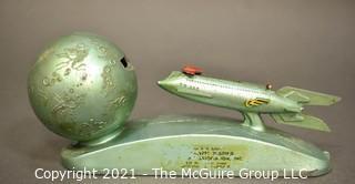 Vintage XU-232 1950s Strato Rocket Space Ship & Moon Mechanical Advertising Bank.