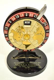 Vintage Brown & Bigelow Roulette Wheel Perpetual Desk Calendar.