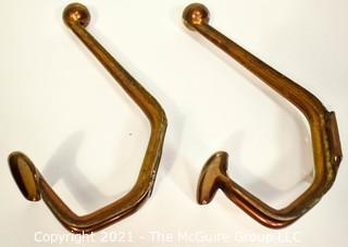 Two (2) Vintage Brass Metal Art Deco Style Wall Hooks