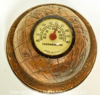 Vintage Round Syroco Desk Thermometer.