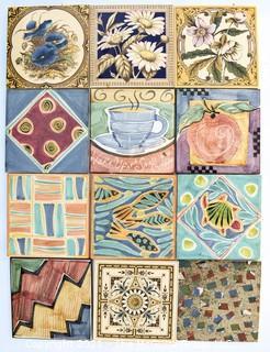 "Twelve (12) Unique Hand-Painted Ceramic Tiles, Made in England.  Each measure 6"" Square."