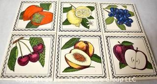 "Six (6) Fruit Themed Ceramic Kitchen Tiles for Backsplash.  Each measure 6"" Square."