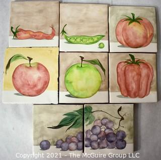 """Eight (8) Hand Thrown and Painted Fruit and Vegetable Themed Ceramic Kitchen Tiles. Each measure 4"""" Square."""