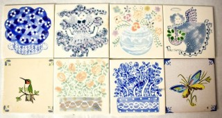 """Eight (8) Hand-Painted Ceramic Tiles.  Each measure 6"""" Square."""