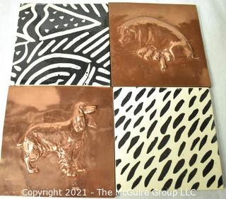 """Four (4) Ceramic Hand Painted Tiles Including Two in Copper with Animal Reliefs.  Each measure 6"""" Square."""