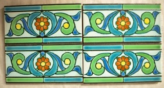 """Four (4) Vintage Italian Hand Painted Clay Tile Edge Border Pieces in Geometric Floral Pattern. Each measure 8"""" x 4""""."""