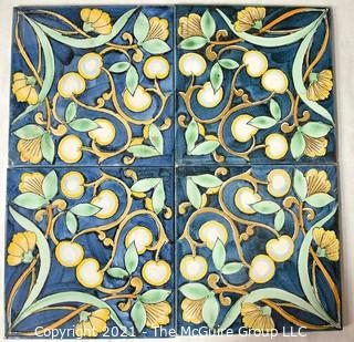 """Set of Four (4) Floral Blue & Yellow Hand-Painted Tiles That Form Pattern. Each measure 6"""" square."""