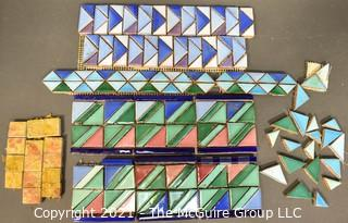 Group of Ceramic Hand Painted Mosaic Tile Trim & Border Pieces in Various Colors.