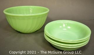 Group of Vintage Green Jadeite Glassware. Includes Fire King Swirl Mixing Bowl and Four Serving Bowls.