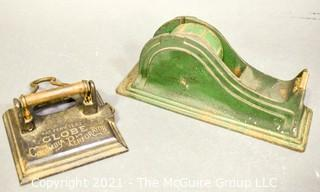 Two (2) Vintage Industrial Cast Iron General Store Desk Items Including Green Tape Dispenser and Globe Columbia Perforator or Double Hole Punch.