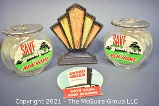 Four (4) Vintage Decorative items.  Includes Cast Iron Art Deco Fan Book End, Two (2) Glass Fish Bowls Save For A New Home   Piggy Bank & Grand Union Supermarket Savings Stamps.