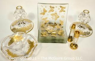 Group of Mid-Century Glass with Gold Decoration, Includes Hand Painted Gilt Salt & Pepper Shakers,  Candle Sticks, Fruit Bowl, and Six (6) Plates by Georges Briard.