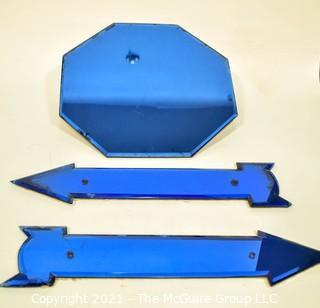 "Vintage Mid Century Art Deco Cobalt Blue Octagonal Wall Mirror & Directional Arrows.  Measures 16"" long."