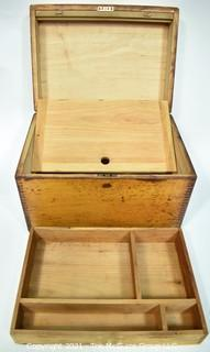 """Antique Hand Made Dovetailed Box with Tray and Hinged Lid, Circa 1900.  Measures 9"""" x 10"""" x 12""""."""