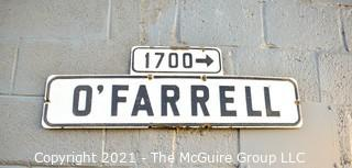 """Vintage Authentic Metal O'Farrell Street Sign from San Francisco, CA.  Measures 33"""" long."""