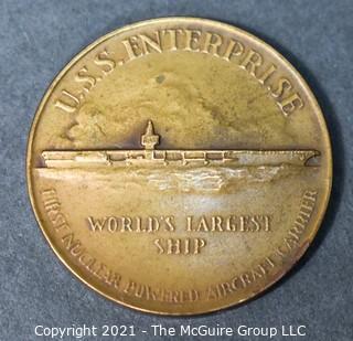 "1960 USS Enterprise Launching Medal, HK-578, Newport News, VA.  Made by Medallic Art Co. NY.  Measures 2 1/2"" in  Diameter."