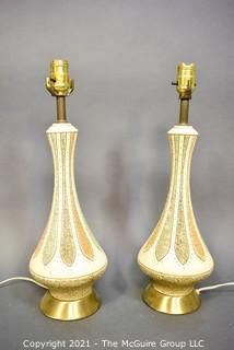 """Pair of Mid Century Modern Ceramic Table Lamps in Textured Lotus Pattern.  Each measure 6"""" in diameter and 19"""" tall, excluding bulb."""