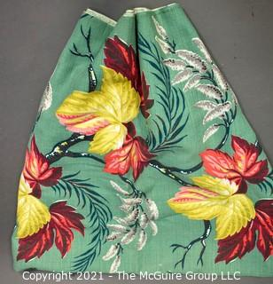 "Vintage Mid Century Art Deco Designed Barkcloth Fabric in Bird of Paradise Flower Design. Measures 44"" x 136""."