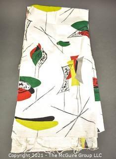 "Vintage Mid Century Art Deco Designed Barkcloth Fabric Remnant in Atomic Design. Measures 22"" x 96""."