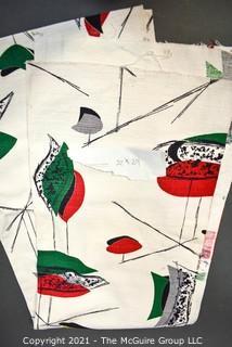 "Vintage Mid Century Art Deco Designed Barkcloth Fabric Remnant in Atomic Design. Measures 22"" x 84""."