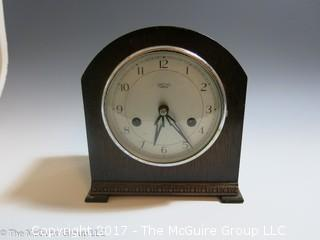 """1930's Smiths Enfield 8-day striking mantle clock; Made in Great Britain; 7 1/2"""" tall"""