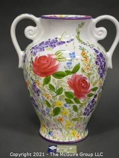 "Don Swanson Large Floral Ceramic Vase in ""Fantasy Garden"" Pattern. Measures 17"" T."