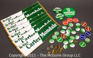 Collection of Presidential Political Buttons, Pin Backs and Bumper Stickers for Carter and Mondale and Udall.