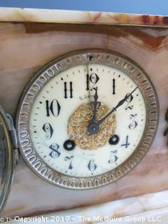 "WDC made vintage mantle clock with alabaster case. Believe face to say ""R. Harris & Co.  Washington"""