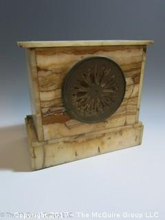 """WDC made vintage mantle clock with alabaster case. Believe face to say """"R. Harris & Co.  Washington"""""""