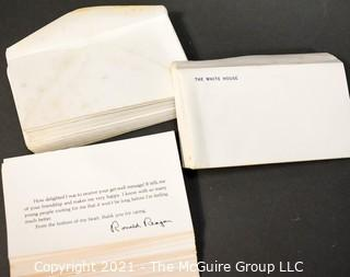 Printed message from President Ronald Reagan thanking well wishers after his attempted assassination, with matching envelopes ~ 50 sets