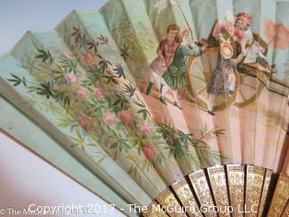 Victorian hand painted ladies hand fan