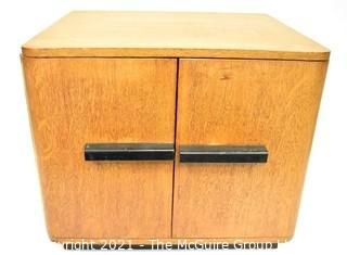 "Vintage Mid Century Art Deco Style Maple Two Door Cabinet.  Measures 14"" x 14"" x 16""."