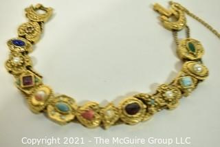 Vintage Victorian Style Costume Slide Charm Bracelet.