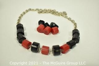 Vintage Mid Century Red & Black Chunky Bead Bakelite Necklace on Chain. With Extra Pieces.