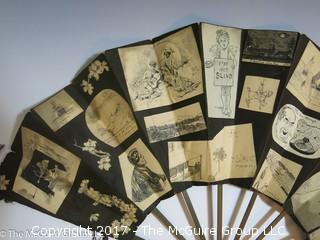 UNIQUE: Double sided ladies Hand Fan adorned with collage of cutouts of personal trip? Gothy to the MAX!