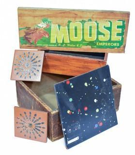 Vintage Ceramics Tiles, 2 Antique Wooden Boxes and Moose Brand Board