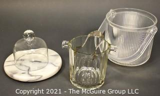 Marble Cheese Board and Cloche, Crystal and Lucite Ice Buckets