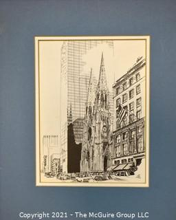 Matted B & W Signed (SF) Print of St. Patrick's Cathedral, Fifth Ave., NY, NY.