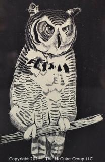 "Framed Under Glass Ink Woodblock of Owl.   Measures 12 x 15"""
