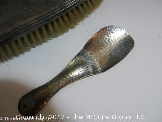 REVISED: 1 Vintage sterling covered brush; 1 silver plated brush, and a sterling shoe horn.