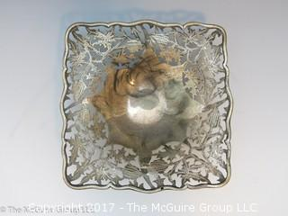 "Silver plated square bowl (5 x 5 x 3"" tall)"